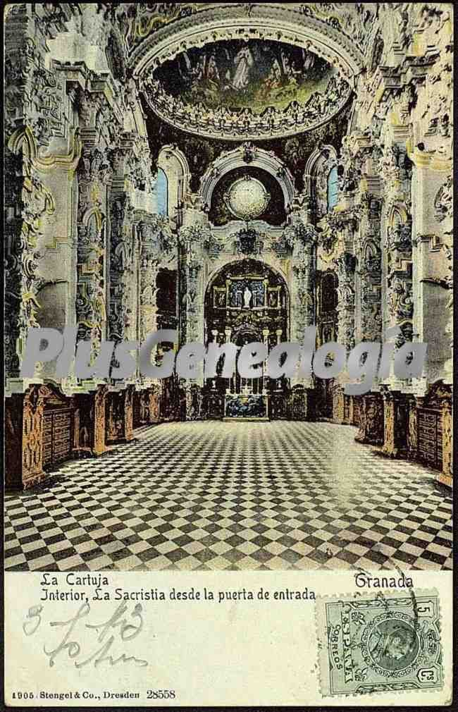 La cartuja. interior, la sacristía desde la puerta de entrada (granada)