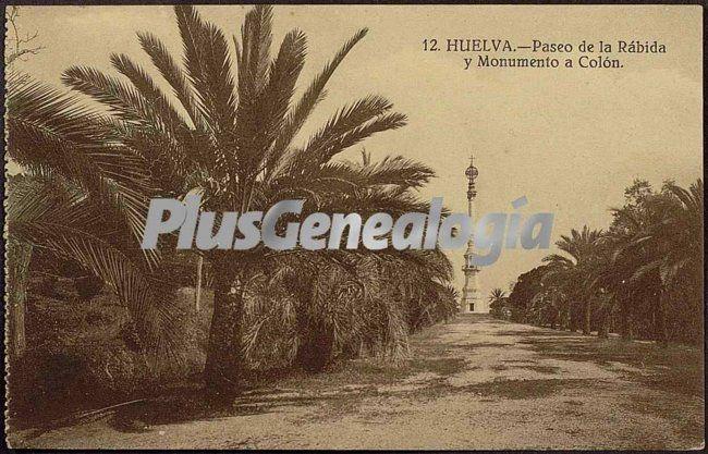 Foto antigua de Paseo de la Rábida y Monumento a Colón (Huelva)