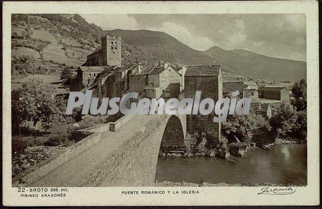Puente románico y la iglesia de broto (huesca)