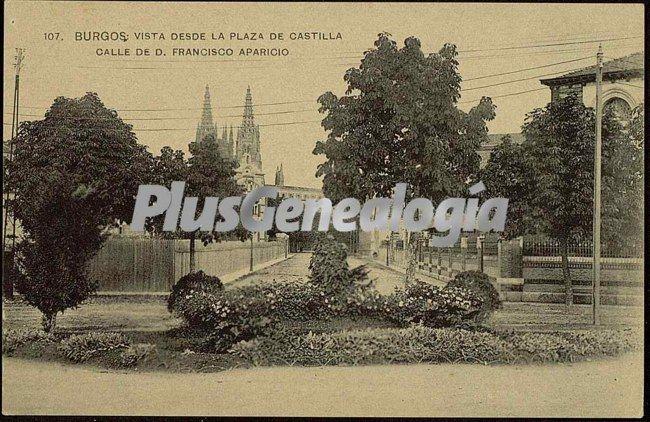 Vista de burgos desde la plaza de castilla. calle de d. francisco aparicio