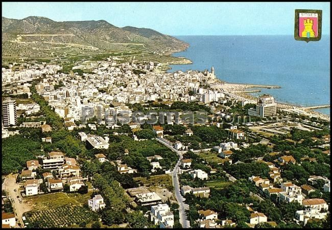 Vista parcial a rea de sitges embarcadero y playa barcelona fotos antiguas - Fotos de sitges barcelona ...