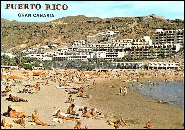 Vista parcial de la playa de puerto rico en mog n las palmas fotos antiguas - Apartamentos puerto rico las palmas ...