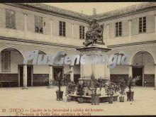 Claustro de la universidad y estatua del fundador. d. fernando de valdes salas. arzobispo de sevilla, oviedo (asturias)
