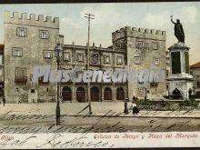 Estatua de pelayo y plaza del marques, gijón (asturias)