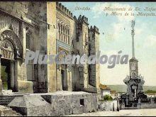 Monumento de san rafael y muro de la mezquita de córdoba