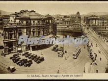 Teatro arriaga y puente de isabel ii de bilbao