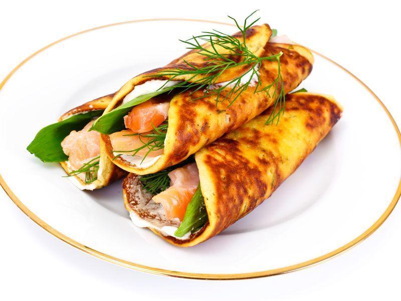 Crepes de salmón y queso