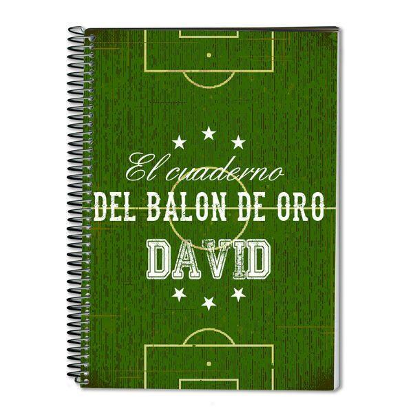 Cuaderno Balón de Oro personalizado con nombre