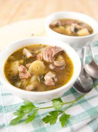 Sopa de puerros con champiñones y setas
