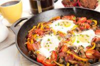 Salteado de verduras con huevo y champiñón