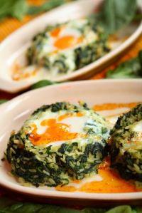 Arroz con espinacas y huevos