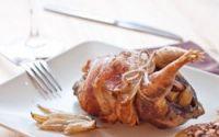 Perdices rellenas de bacon y manzana