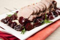 Lomo de cerdo con cerezas