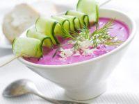 Sopa fría de remolacha y pepino