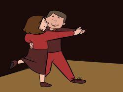 Pareja de jubilados bailando
