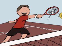 Jubilado jugando al tenis