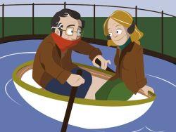 Pareja de jubilados en barca