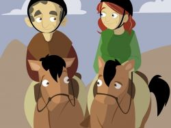 Pareja de jubilados montando a caballo
