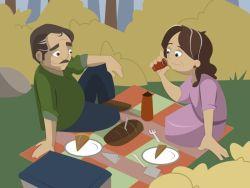 Pareja de jubilados de picnic