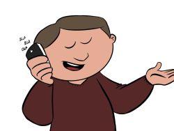 Jubilado hablando por el móvil