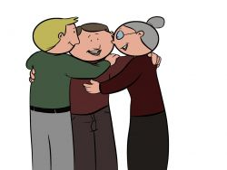 Jubilado abrazando a sus ex compañeros de trabajo