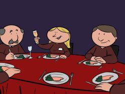 Cena de grupo de jubilados
