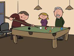 Jubilados jugando al billar