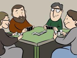Grupo de jubilados jugando al dominó