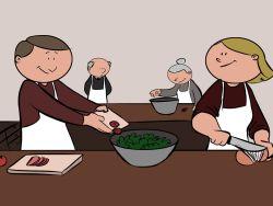 Jubilados asistiendo a clases de cocina