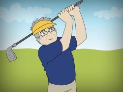 Jubilado jugando al golf