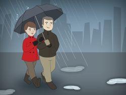 Pareja de jubilados paseando bajo la lluvia
