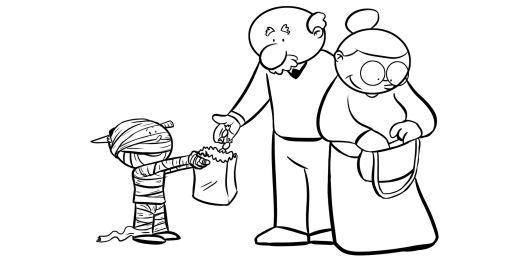 Colorear abuelos dando caramelos a su nieto