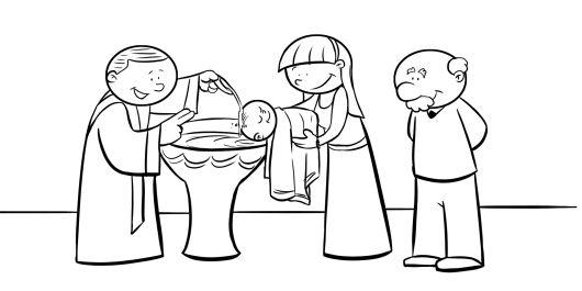 Colorear abuelos en el bautizo de su nieto