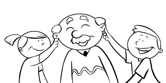Colorear nietos tirando de las orejas a su abuelo