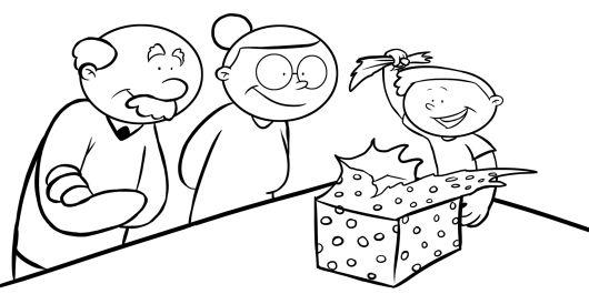 Colorear niño abriendo regalo de sus abuelos