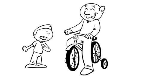 Colorear abuelo enseñando a motar en bici a su nieto
