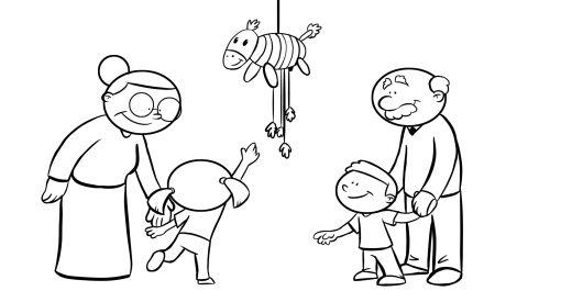 Colorear abuelos y nietos jugando con una piñata