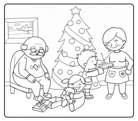 Colorear abuelos abriendo los regalos de navidad con sus nietos