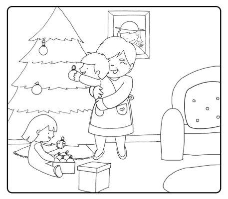Colorear abuela decorando el árbol de navidad con su nieta