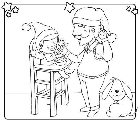 Abuelo dando de comer a su nieta en navidad