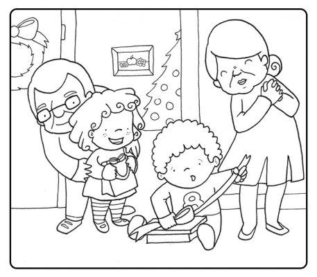 Colorear abuelos jugando con los regalos de navidad