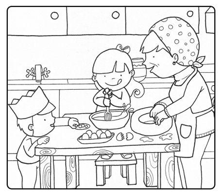 Colorea niños cocinando con su abuela en navidad