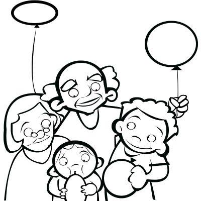 Colorear abuelos y nietos con globos