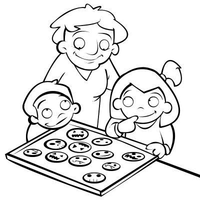 Colorear niños haciendo galletas de halloween con su abuela