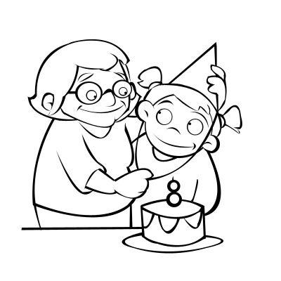 Colorear abuela celebrando el cumpleaños de su nieto
