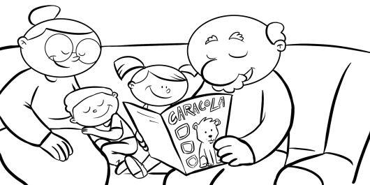 Colorear abuelos leyendo la revista caracola a sus nietos