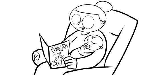 Colorear abuela leyendo la revista popi a su nieto