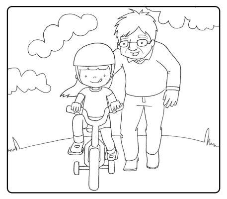 Colorear abuelo enseñando a montar en bicicleta a su nieta