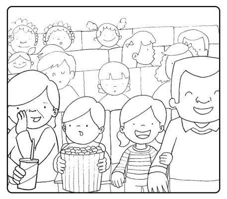 Colorear abuelos en el cine con sus nietos