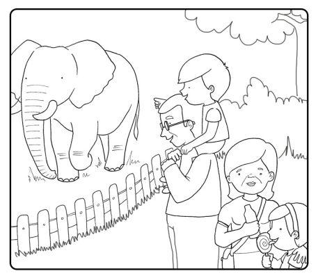 Colorear abuelos en el zoo con sus nietos